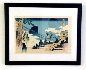 Hängebrücke, Katsushika Hokusai, Druckgrafik