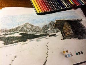 Seiseralm Schnee Almhütte Langkofel