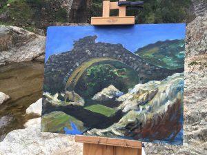 Pont des Fees Feenbrücke Grimaud Provence Plein-Air Öl Malerei