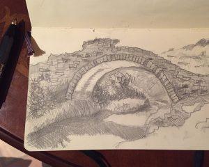 Pont des Fees Feenbrücke Grimaud Provence Plein-Air Skizze